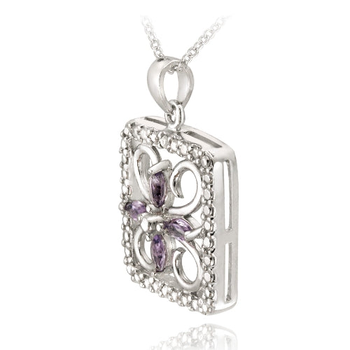 Sterling Silver Amethyst & Diamond Accent Filigree Flower Design Necklace