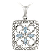 Sterling Silver Blue Topaz & Diamond Accent Filigree Flower Design Necklace