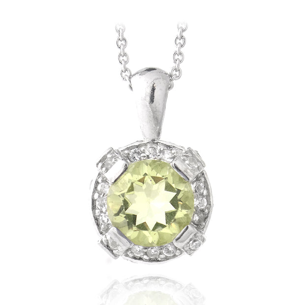 Sterling Silver 3.4ct TGW Lime Quartz & White Topaz Round Necklace Round Necklace