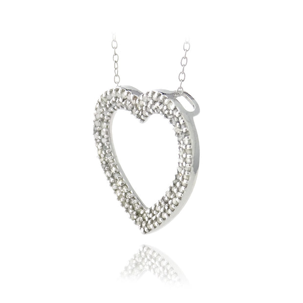 Sterling Silver 1 ct Diamonds Open Heart Necklace