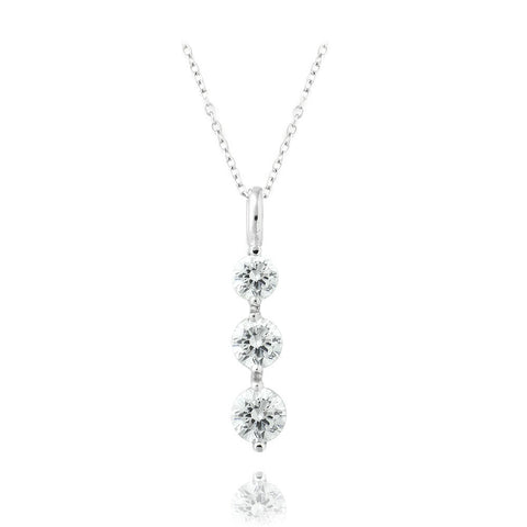 Sterling Silver CZ Past Present Future 3-Stone Necklace