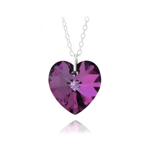 Sterling Silver Amethyst Swarovski Elements Heart Necklace