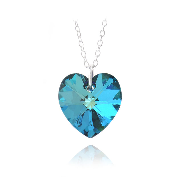 Sterling Silver Bermuda Blue Swarovski Elements Heart Necklace