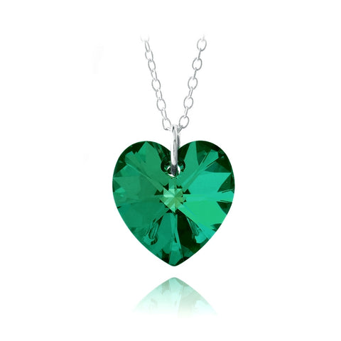 Sterling Silver Emerald Swarovski Elements Heart Necklace