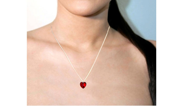 Sterling Silver Red Heart Pendant Necklace Made with Swarovski Crystals
