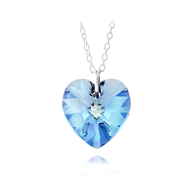 Sterling Silver Sapphire Swarovski Elements Heart Necklace