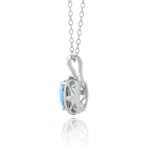 Sterling Silver 1.5ct Swiss Blue Topaz & Diamond Accent Oval Necklace
