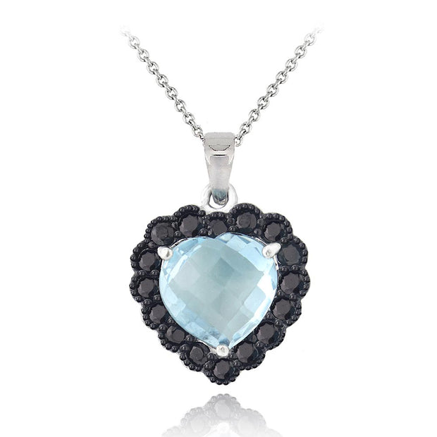 Sterling Silver 4ct Blue Topaz & Black Spinel Heart Necklace