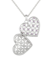 Sterling Silver Amethyst & Diamond Accent Heart Locket Necklace