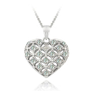 Sterling Silver Blue Topaz & Diamond Accent Heart Locket Necklace