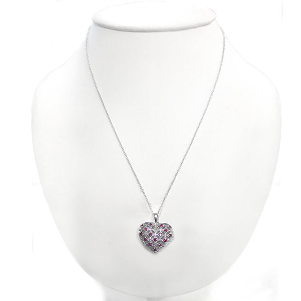 Sterling Silver Created Ruby & Diamond Accent Heart Locket Necklace