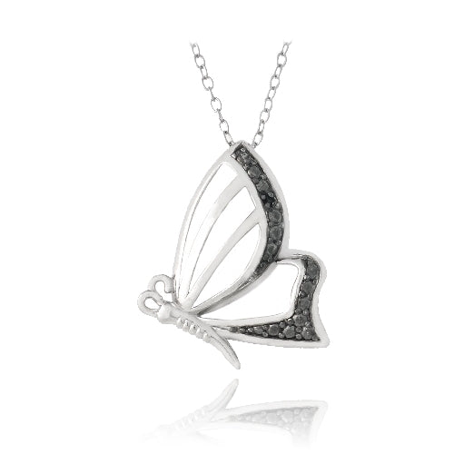 Sterling Silver Black Diamond Accent Butterfly Necklace