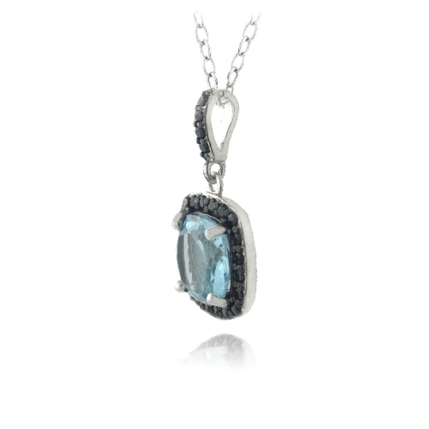 Sterling Silver 4ct Blue Topaz & Black Spinel Square Necklace