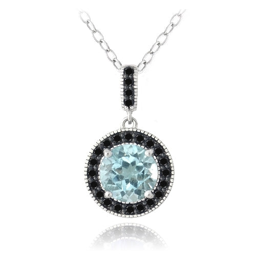 Sterling Silver 3.25ct Blue Topaz & Black Spinel Round Necklace