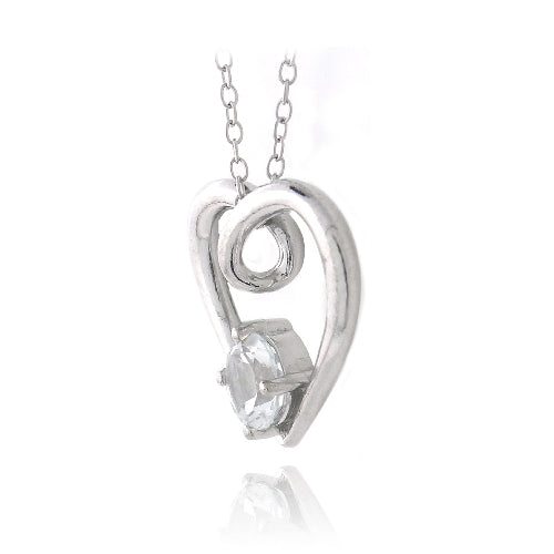 Sterling Silver 1ct White Topaz Open Heart Neckace