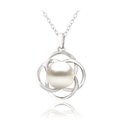 Sterling Silver Freshwater Cultured Pearl Flower Necklace