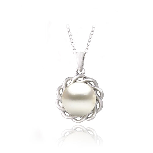 Sterling Silver Freshwater Cultured Pearl Twisted Flower Necklace