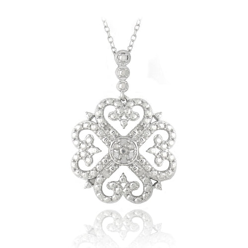 Sterling Silver 1/10ct Diamond Heart Clover Filigree Dangle Necklace