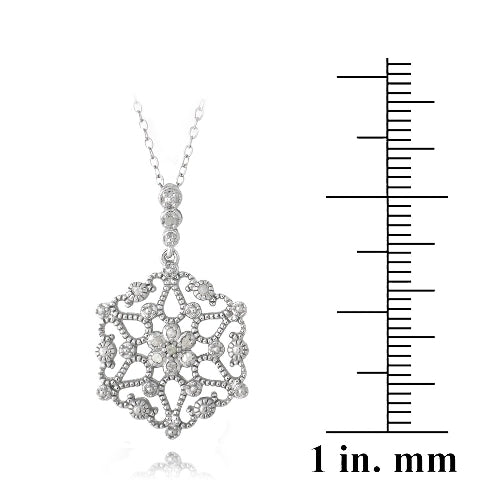Sterling Silver 1/10ct Diamond Flower Filigree Dangle Necklace