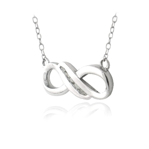 Sterling Silver Diamond Infinity Twist Necklace