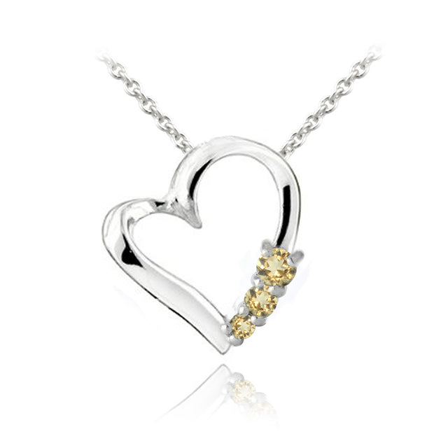 Sterling Silver Citrine Three Stone Floating Heart Necklace