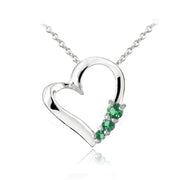 Sterling Silver Created Emerald Three Stone Floating Heart Necklace