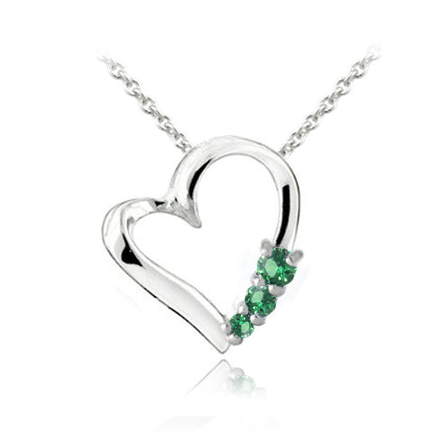 Sterling silver created emerald three stone floating heart necklace sterling silver created emerald three stone floating heart necklace aloadofball