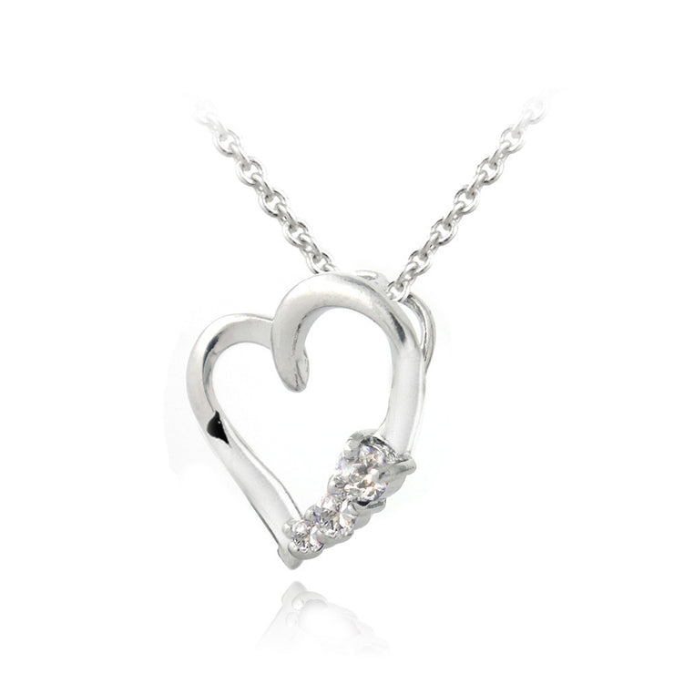 Sterling Silver CZ Three Stone Floating Heart Necklace