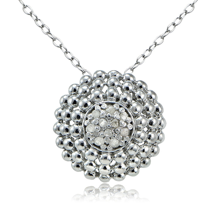 Sterling Silver 1/10ct Diamond Round Necklace