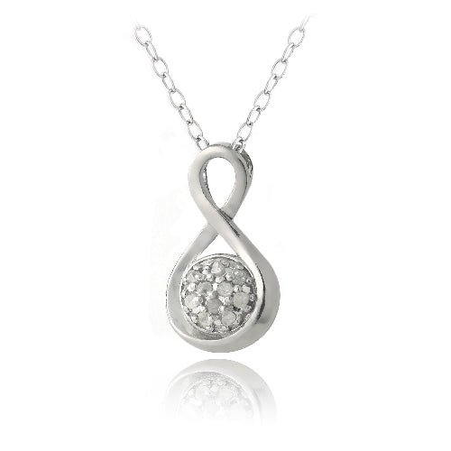 Sterling Silver 1/10ct Diamond Infinity Necklace