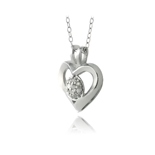 Sterling Silver 1/10ct Diamond Open Heart Necklace