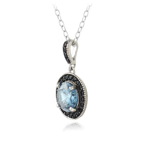 Sterling Silver 3.2ct Blue Topaz & Black Spinel Round Dangle Necklace