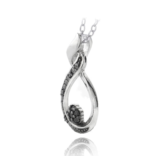 Sterling Silver 1/10ct Black Diamond Twisted Teardrop & Flower Necklace