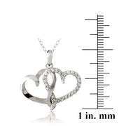Sterling Silver 1/4 ct Diamond Double Open Heart Necklace