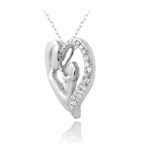 Sterling Silver CZ Mother Holding Baby Heart Necklace
