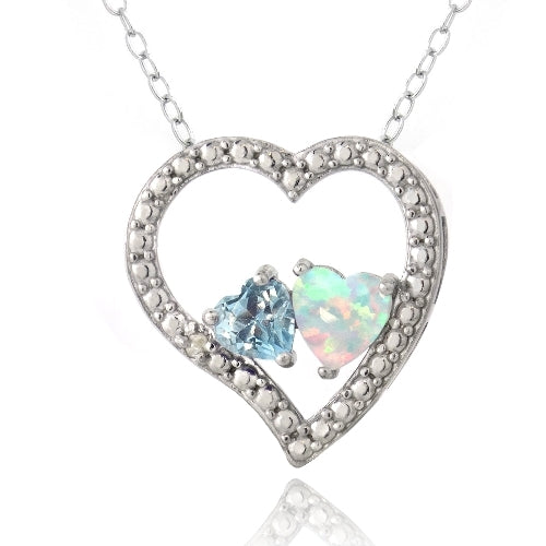 Sterling Silver Diamond Accent Blue Topaz & Created White Opal 3 Floating Heart Necklace