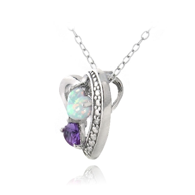 Sterling Silver Diamond Accent Amethyst & Created White Opal Triple Heart Necklace