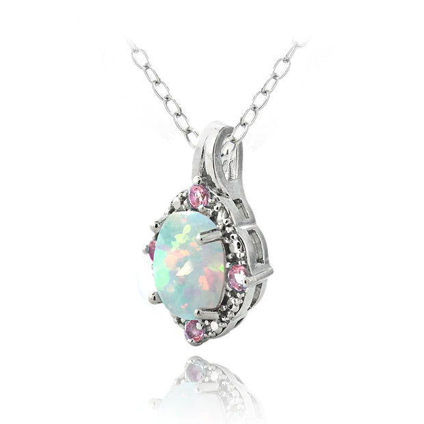 Sterling Silver Created Opal Diamond Accent Oval Necklace