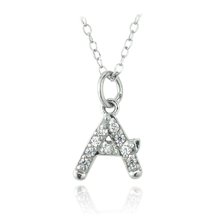 Sterling Silver CZ A Initial Necklace