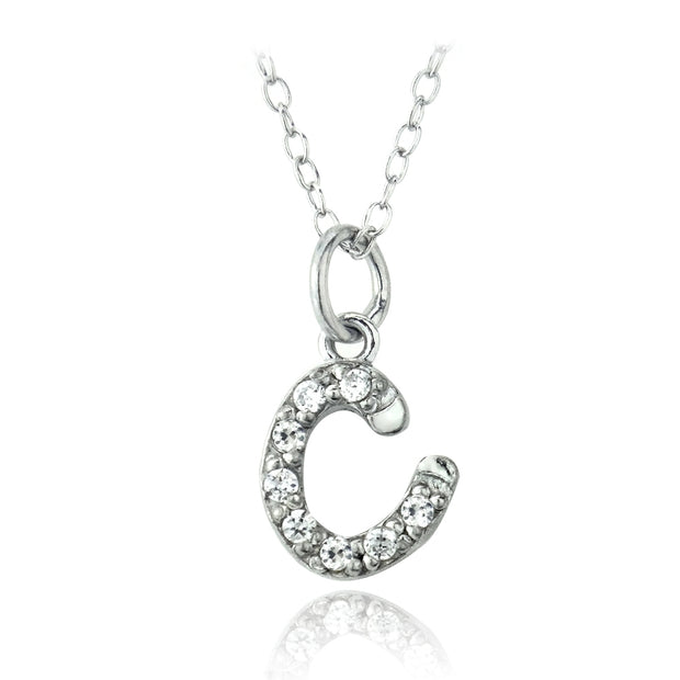 Sterling Silver CZ C Initial Necklace