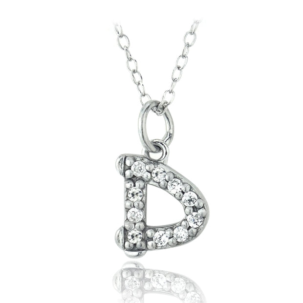 Sterling Silver CZ D Initial Necklace