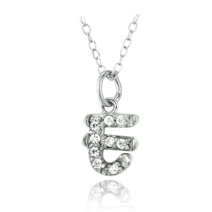 Sterling Silver CZ E Initial Necklace