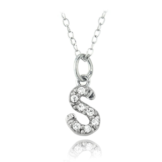 Sterling Silver CZ S Initial Necklace