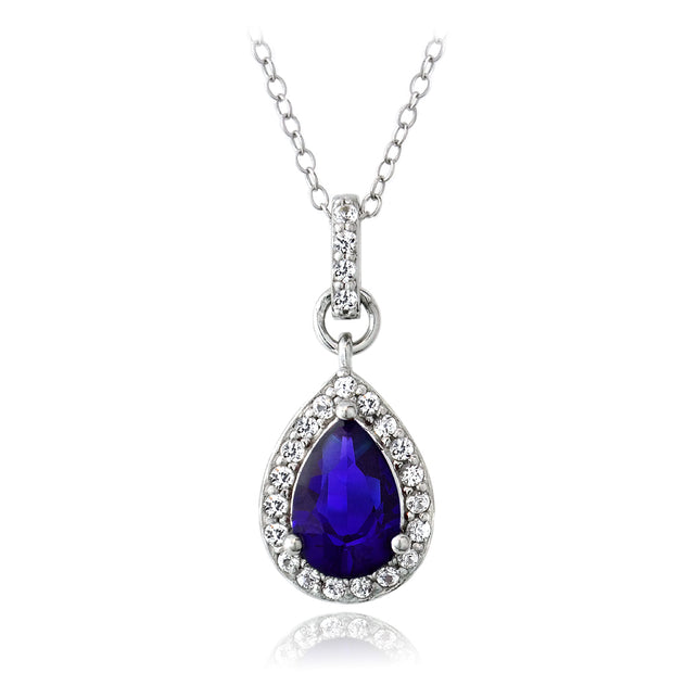 Sterling Silver Created Blue & White Sapphire Teardrop Necklace