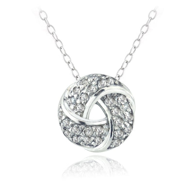 Sterling Silver 1/4 ct Diamond Love Knot Necklace, (H-I, I2)