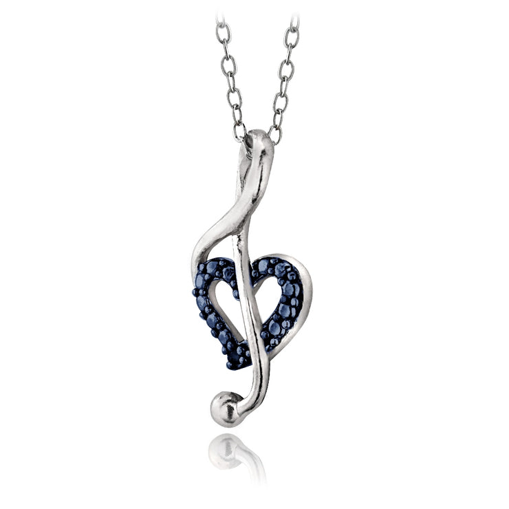 Sterling Silver Blue Diamond Accent Music Note Heart Necklace