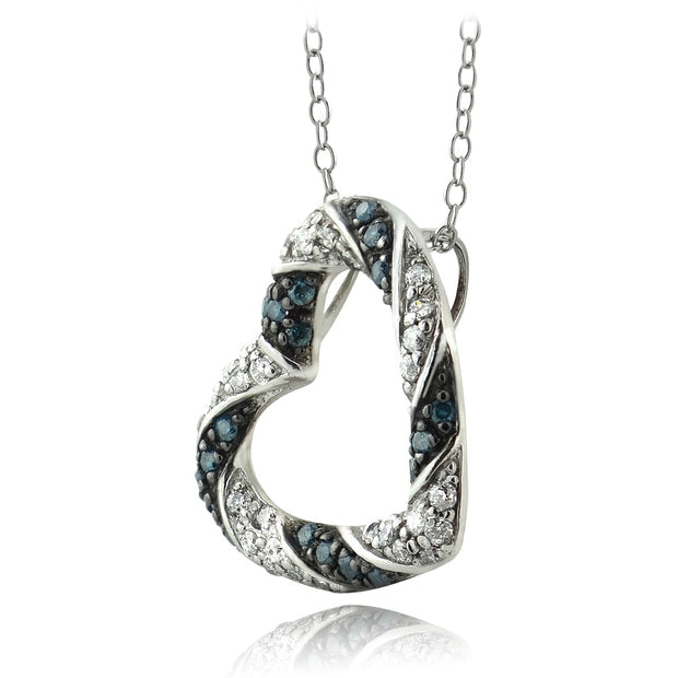 Sterling Silver 1/2 ct Blue & White Diamond Open Heart Necklace