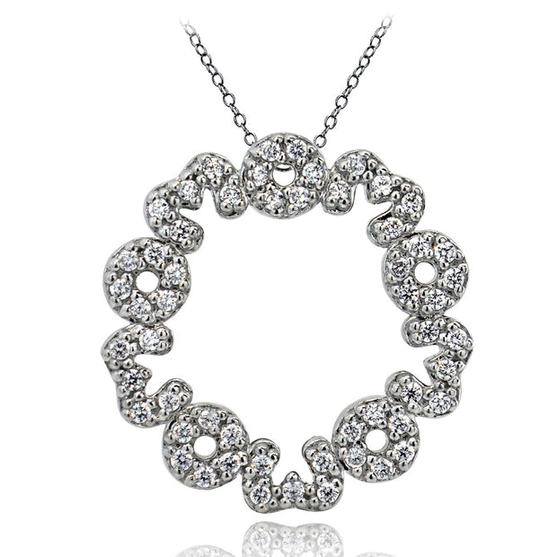 Sterling Silver CZ MOM Eternity Necklace