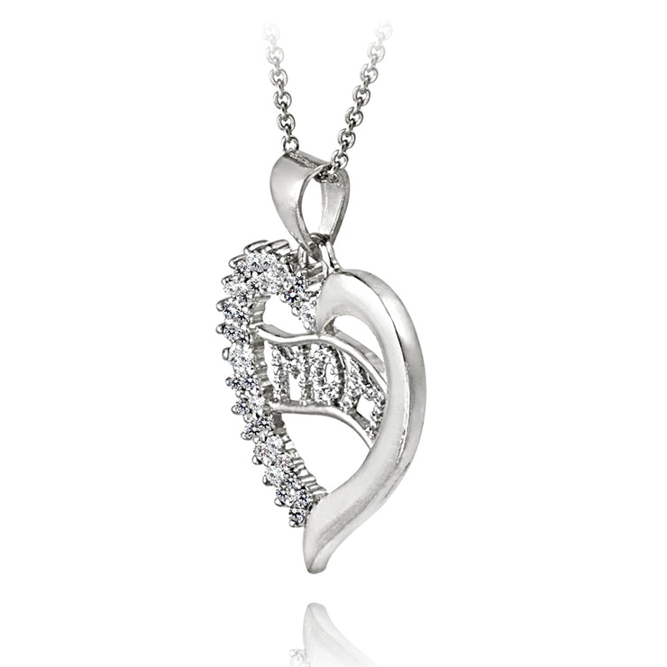 Sterling Silver CZ MOM Heart Necklace