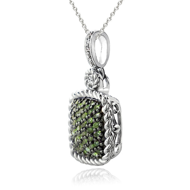 Sterling Silver 1ct Peridot & White Topaz Square Rope Pendant Necklace
